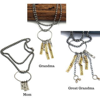 Group of 3 Silver Charm Necklaces for Mom, Grandma & Great Grandma