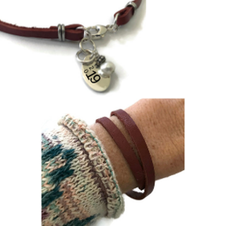 Leather Wrap Bracelet with White Freshwater Pearl & Sterling customizable Charm