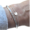 Sterling Box Chain Initial Bracelet & Textured Sterling Cuff on Wrist