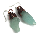Natural Blue calcite electroformed earrings