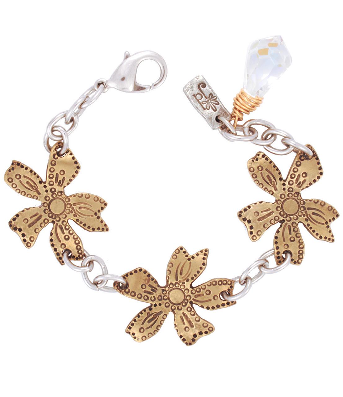 Bronze-wildflower-clear-Swarovski-crystal-statement braclet-on-white-background
