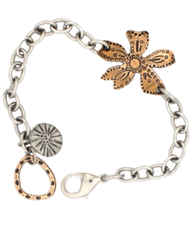 bronze wildflower bracelet on white