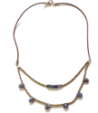 layered gemstone leather necklace on white