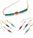 Colorful beaded necklace earrings on white