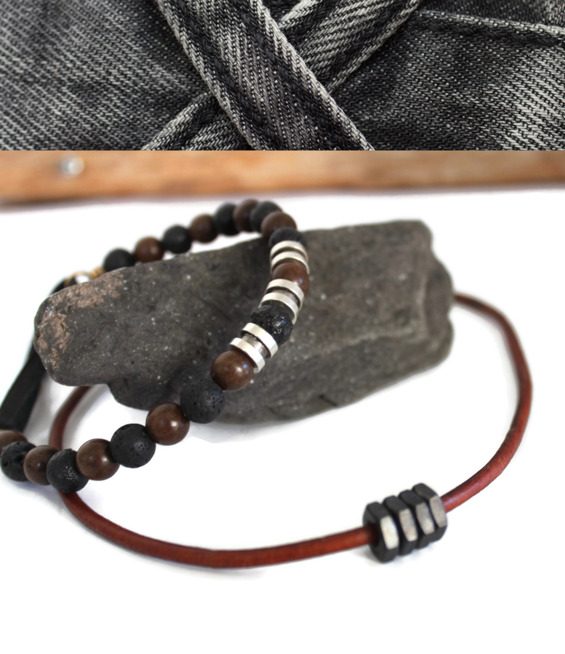 mens beaded bracelet  leather necklace