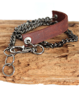 black chain leather bracelet on wood