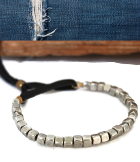 men's silver cube black leather bracelet