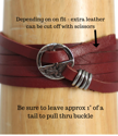 Leather bracelet sizing instructions