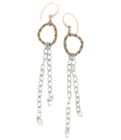 long chain earrings on white