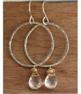 Hoop Crystal Earrings on wood