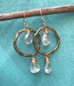 Chandelier crystal earrings on teal fabric