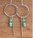 sterling hoop turquoise earrings on wood