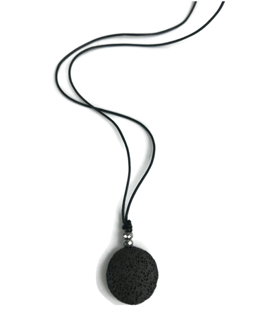 black leather lava necklace on white