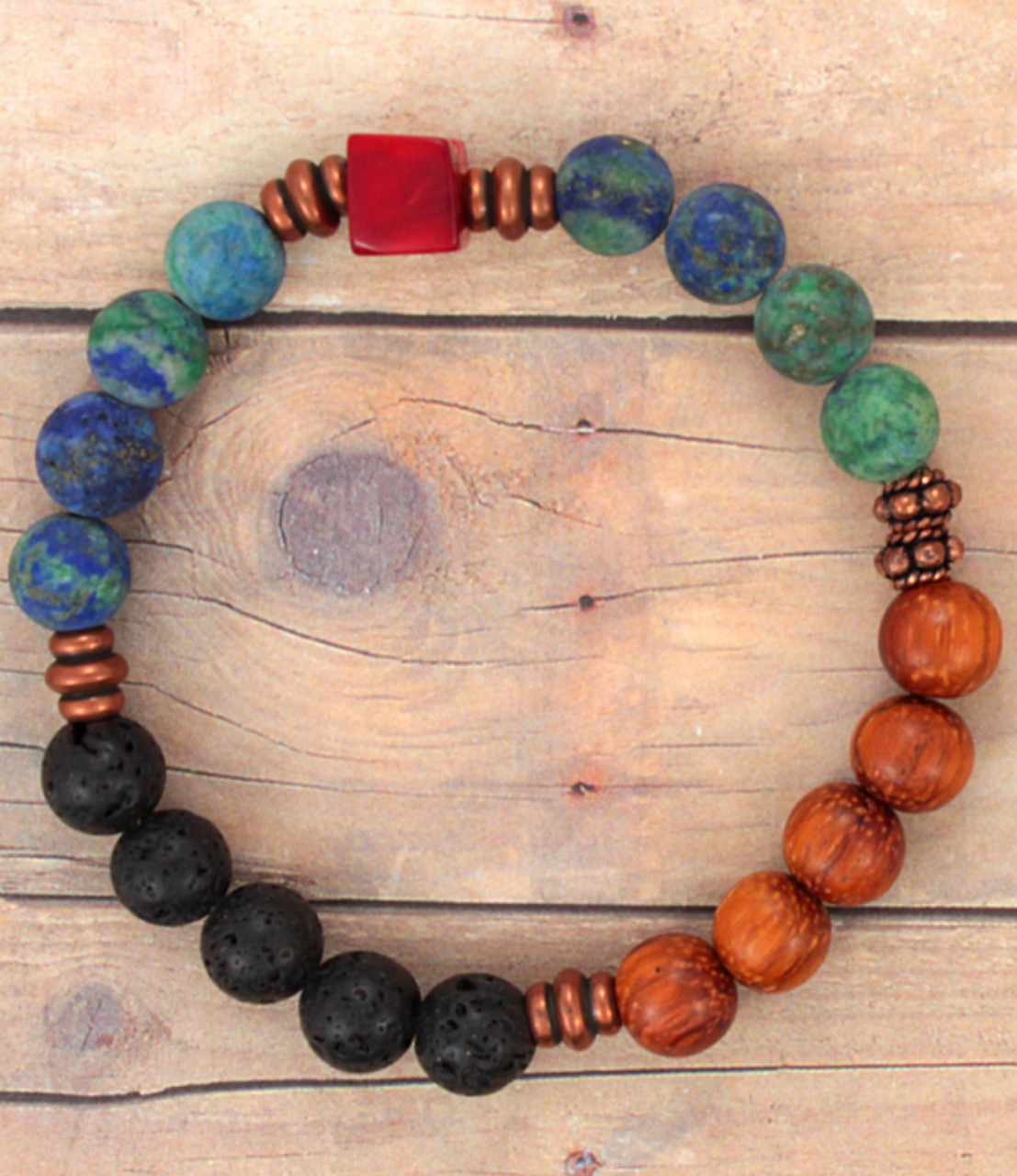 bold color beaded bracelet on wood