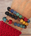 Colorful bracelet stack on wrist