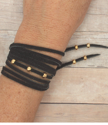 black wrap bracelet on wrist