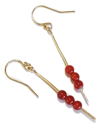carnelian gold stick earrings on white