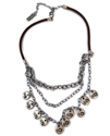 leather chain layered necklace on white