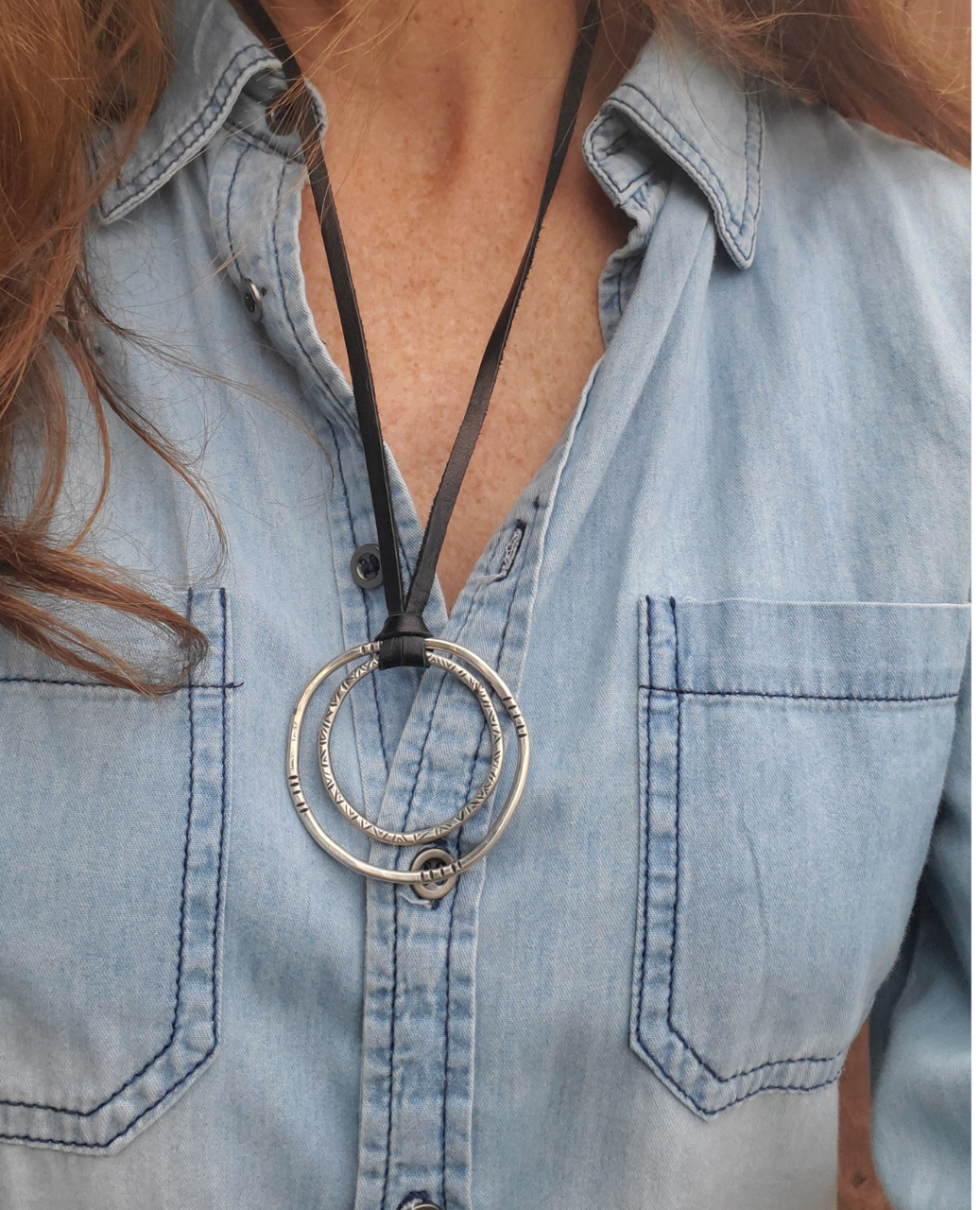 sterling circle necklace on model