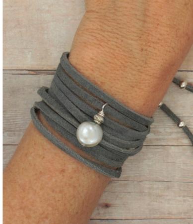 white pearl gray suede wrap bracelet on arm