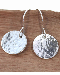 sterling disc earrings on wood