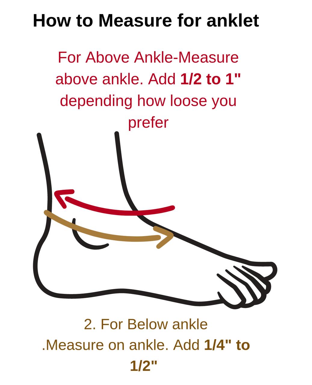 anklet measuring size guide image