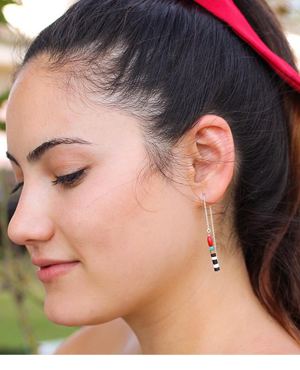 sterling beaded ear threads on female profile