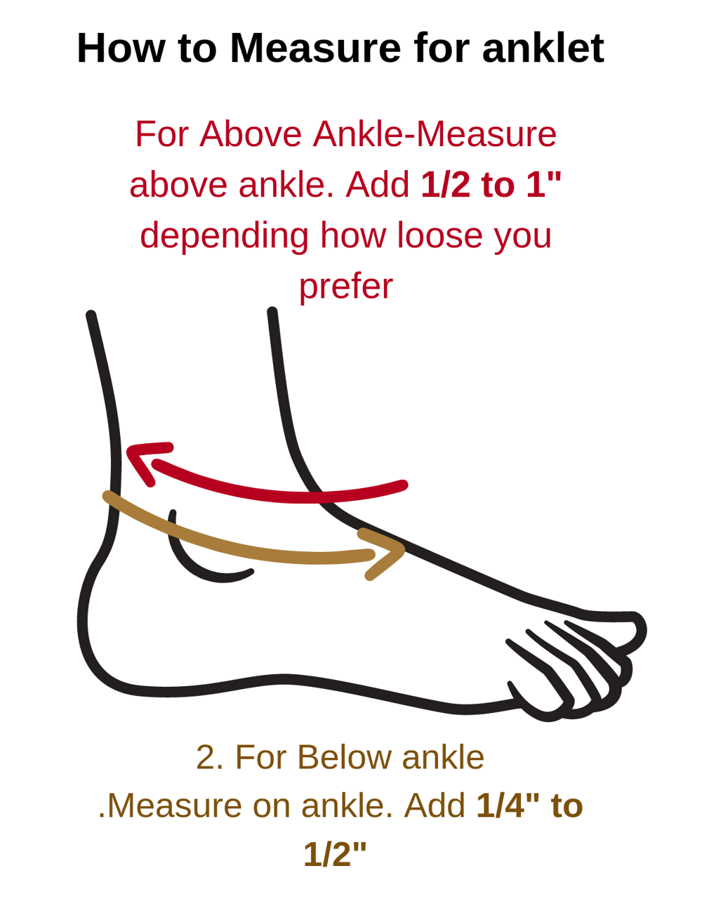 ankle size/measure guide image