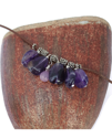 amethyst leather cluster necklace on vase