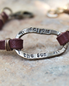 follow the sun leather metal bracelet on stone