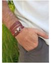 mens unisex multi leather bracelet on hand in pocket