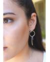 smooth sterling iolite hoop stick earring on female