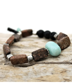 womens brown and blue gemstone aromatherapty bracelet