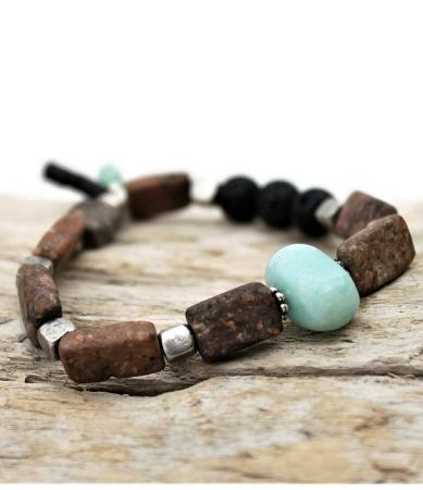 womens brown and blue gemstone aromatherapty bracelet