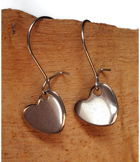 Petite heart earrings hypoallergenic and stainless steel