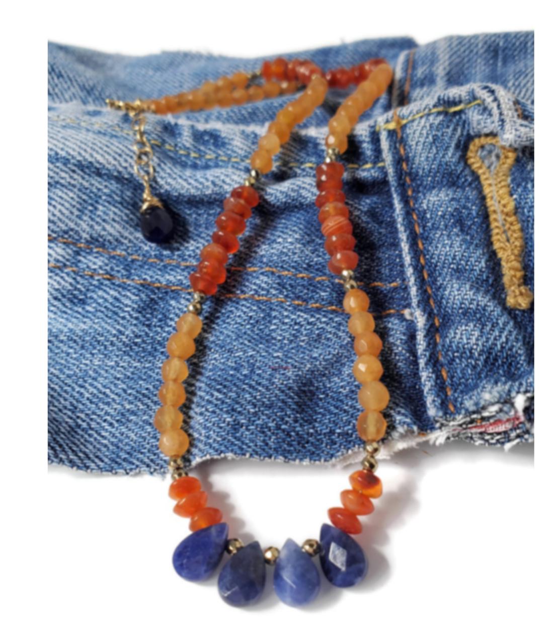 short southwestern gemstone necklace on denim