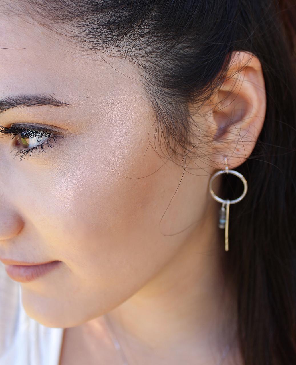 sterling hoop stick earring on female profile