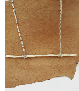 gold bar sterling chain necklace on wood
