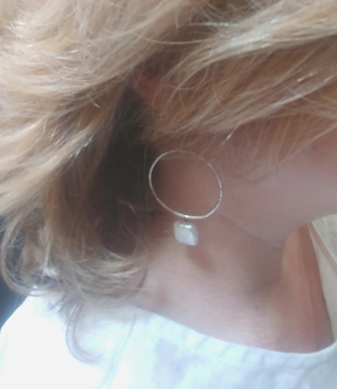 white pearl sterling hoop earring on blonde profile