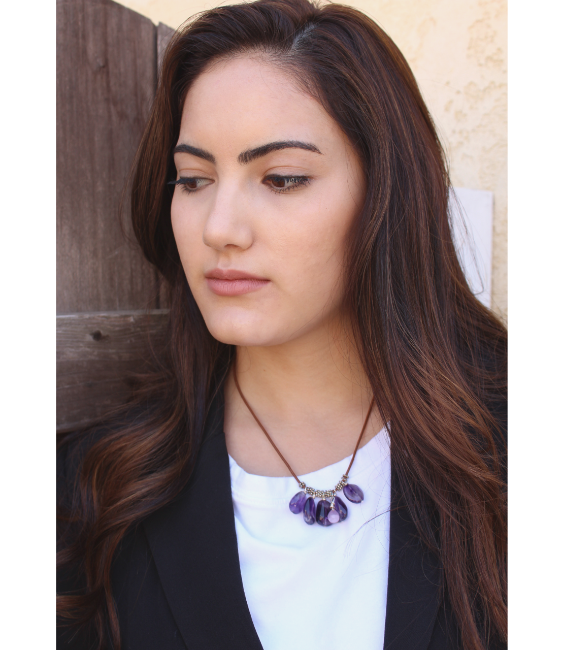 leather amethyst necklace  for business on model