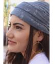 scarf headband on girl with gold hoop earrings