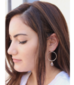 dark hair model with sterling hoop crystal earrings