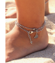 barefoot with 2 silver ankle bracelets