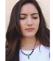 beaded aromatherapy necklace on dark haired model