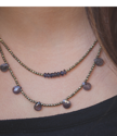 blue gold beaded layered leather necklace on neck