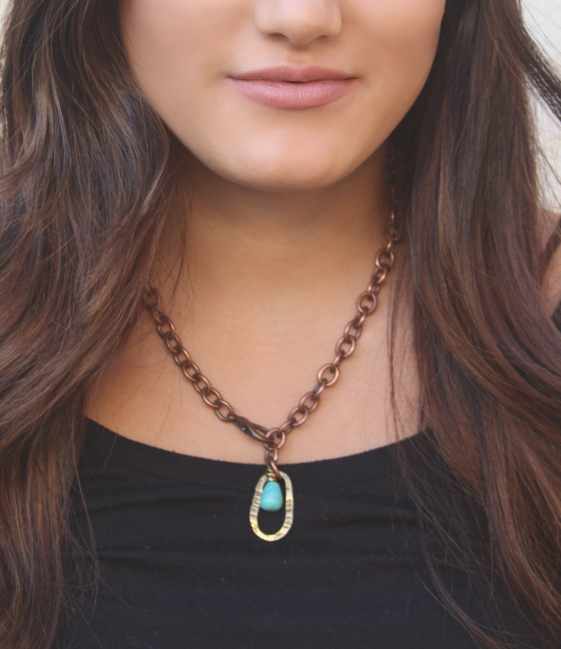 Heavy copper chain brass follow the sun pendant turquoise necklace