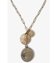 brass chain & bar triple coin necklace on white background