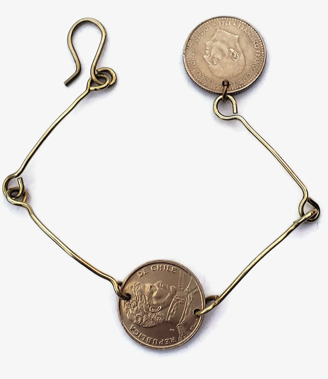 Simple brass coin bracelet with dangle coin