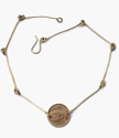 Simple brass bar coin necklace