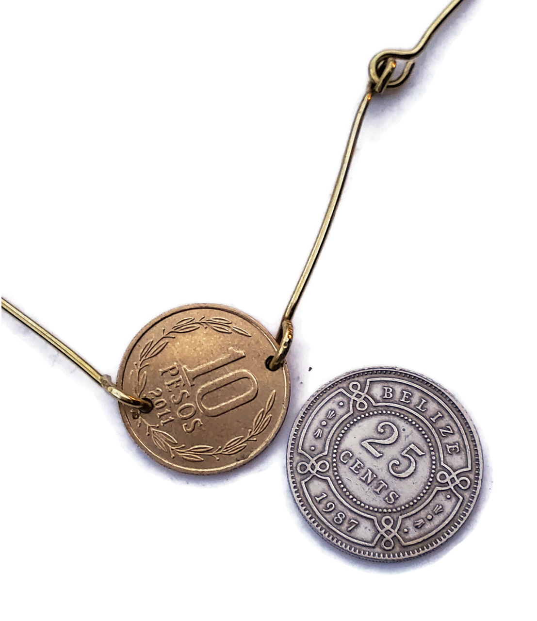 choose silver or gold coin for brass bar necklace